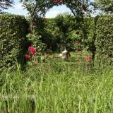 Rosenbogen als Eingang in einen Privatgarten